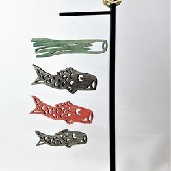 木彫りの鯉のぼりモビール