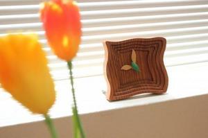 置き時計 木製 アナログ (波紋)
