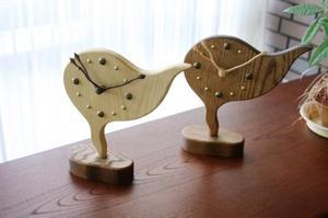 置き時計 木製 アナログ (リーフ/雲型)